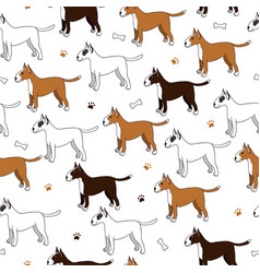 awesome seamless pattern with cute cartoon dogs vector image