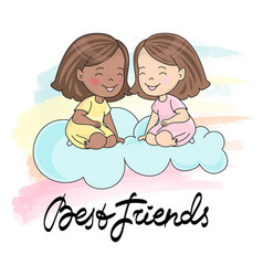 Best friends card greeting card vector