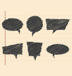 black hand drawn speech bubblesset vector image