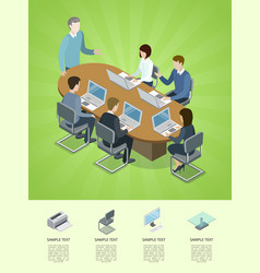 business conference isometric 3d infographics vector image