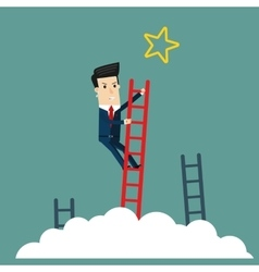 Businessman climbs the stairs to get a star vector