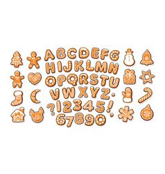 christmas and new year gingerbread alphabet vector image