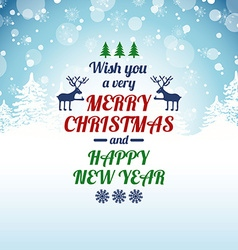 Christmas Greeting Card With Typography Text vector image