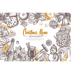 christmas restaurant festive menu template vector image