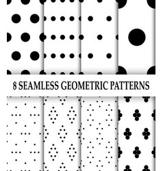 collection of 8 geometric patternspolka dot vector image