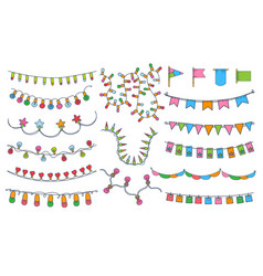 colorful bunting party flags festival birthday vector image