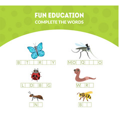 Complete words fun educational game for vector