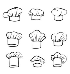 Cook hat drawn hat chef cook hat chef-cooker set vector