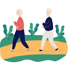 couple cute elderly people jogging in park vector image