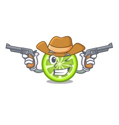 Cowboy green lemon slices in cartoon glass vector