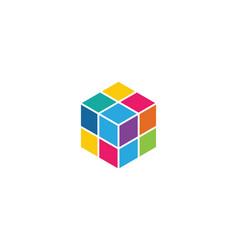 Cube logo template icon vector