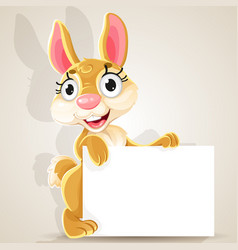 cute babunny with a blank banner vector image