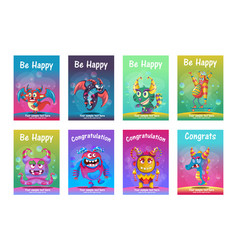 cute monster greeting cards set vector image