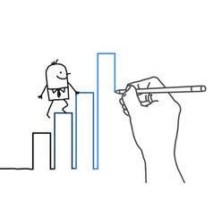 Drawing hand and cartoon businessman - going up vector