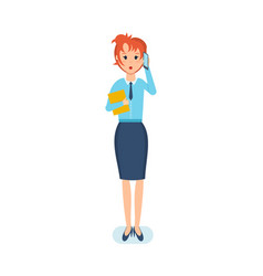 employee with documents talking on phone vector image