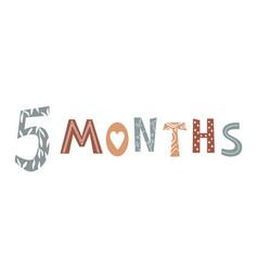Five month baby lettering in scandinavian vector