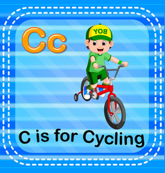flashcard letter c is for cycling vector image