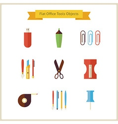 Flat Education School and Business Office Tools vector
