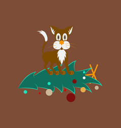 Flat on background of christmas tree cat vector