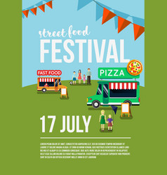 Food truck festival event flyer vector