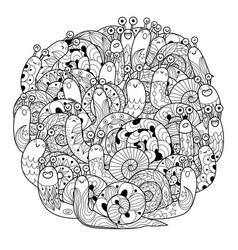 funny snails circle shape coloring page for adults vector image