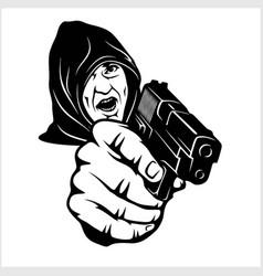 Gangster with a shotgun vector