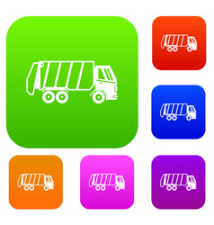 Garbage truck set collection vector