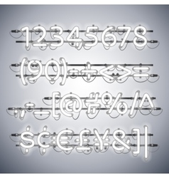 Glowing Neon Silver Numbers vector image