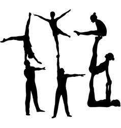 gymnasts acrobats black silhouette vector image