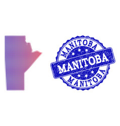 Halftone gradient map of manitoba province and vector