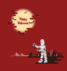 Halloween mummy walking under the moon vector