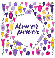 Hand drawn flowers and hearts doodle vector