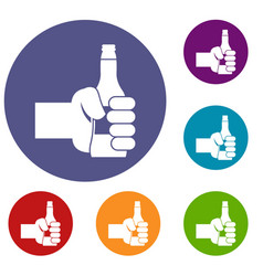 hand holding bottle of beer icons set vector image