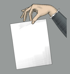 hand of woman holding a paper sheet vector image
