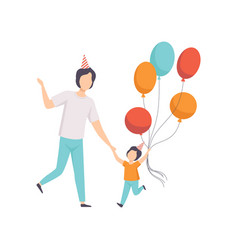 happy boy holding bunch of colorful balloons kid vector image