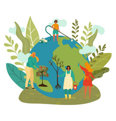 happy earth day green planet enviroment people vector image