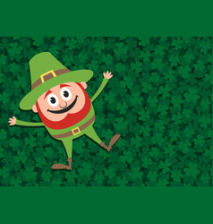happy leprechaun on clovers vector image