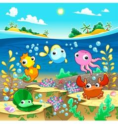 Happy marine family under the sea vector