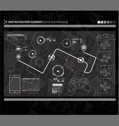 head-up display navigation map elements vector image