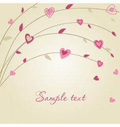 hearts on the tree valentines vector image