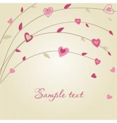 Hearts on tree valentines vector