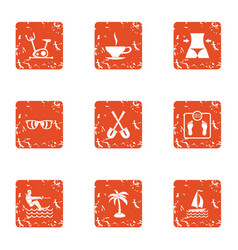 Heavenly place icons set grunge style vector