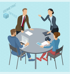 Isometric coworking vector