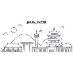 Japan kyoto architecture line skyline vector