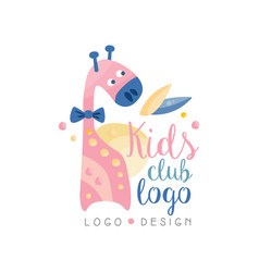Kids club logo design emblem with cute giraffe vector