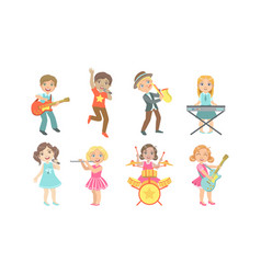 kids playing musical instruments and singing set vector image