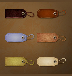 Leather tag collection vector