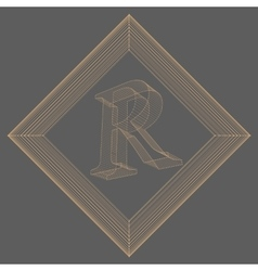 letter R Fonts of Mesh vector image