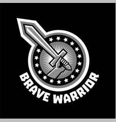 Logo brave warriors a hand holding a sword vector