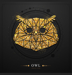 Magic witchcraft card with owl zodiac sign vector